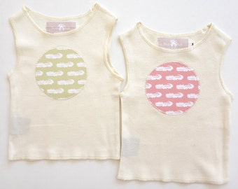 organic crocodile applique baby singlet