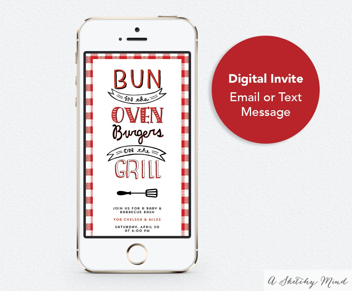Text Message Invitations ― Bun In The Oven Burgers On The Grill ...