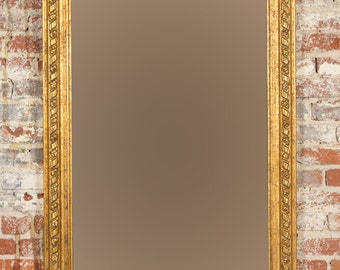 """Beautiful French Mirror with 31x60"""" Giltwood Frame c.1900"""