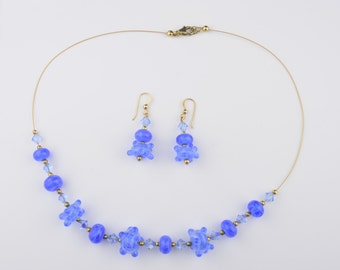 Blue Handmade Lampwork Beaded Necklace and Earring Set