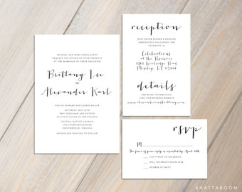 Customizable Simple Wedding Invitation Set