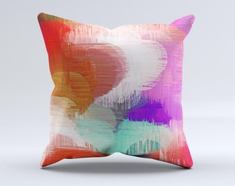 The Faded Neon Painted Hearts  ink-Fuzed Decorative Throw Pillow