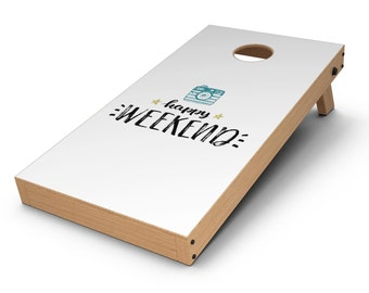 Happy Weekend - Cornhole Board Skin Kit