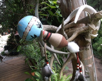 Decorative Native American Gourd Rattle with swallows