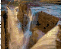 Glacier National Park Montana Cross Stitch Pattern Design Chart Waterfall Sunrise Nature Landscape Scenery PDF File Instant Download