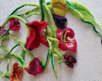 Felted wool flower garland
