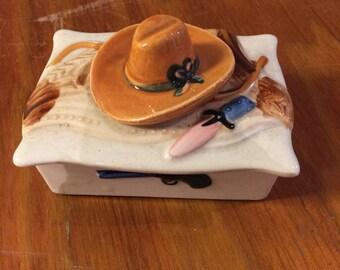 Vintage Cowboy Theme Cigarette or Trinket Box