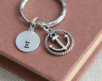 Anchor Keychain, Anchor Keyring, Personalized Keychain, Monogram Initial keychain, Nautical Keychain, Gift for him, Gift for her,Best Friend