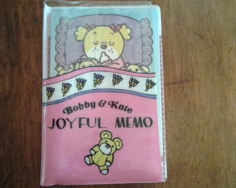 Vintage japan Bobby & Kate small memo pad with pencil, stationery