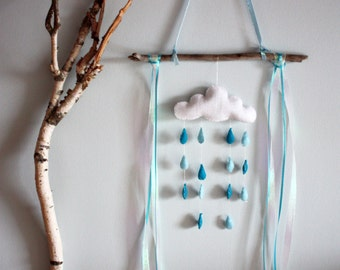 Felt Clouds & Rain Mobile