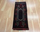 Persian Rug Vintage Oriental Rug 1' 7 x 3' 8 Small Rug Black Rug Area Rug Wool Rug Carpet Home Decor