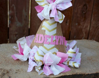 Pink and Gold Fabric, Cake Smash, Photo Prop, Birthday Party Hat with Name - Pink and Gold First Birthday Hat with Name