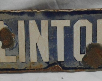 Vintage Metal Street Sign - N. Clinton St. - Weathered/Rust - One Sided - Collectible - Original - 20 inch x 4.5 inch