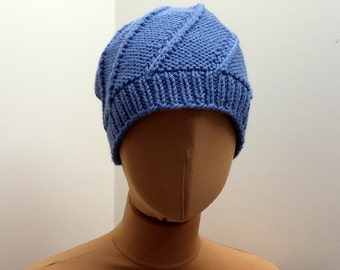 Hand Knitted Hat, Blue Wool Beanie, Hipster Cap For Girl Or Woman.