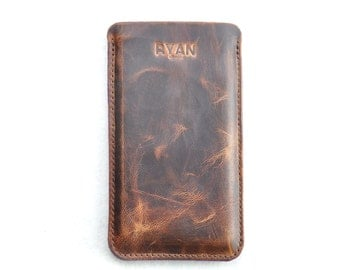 iPhone 6 or 6S Leather Case, iPhone 6 Pouch Case, iPhone 6 Leather Pouch Sleeve Case