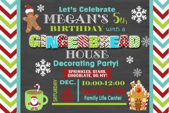Items similar to gingerbread house party gingerbread Gingerbread house decorating party invitations