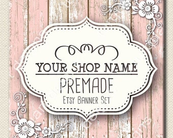 Vintage Pink Wooden - Etsy Banner and New Etsy Cover with Facebook Cover Included Full Shop Graphics Set