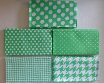 Michael Miller Modern Basics~Ocean~Green #2~Geometric~Cotton Fabric,Fat Quarter Bundle of 5~Fast Shipping FQ521