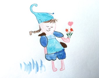 Gnome Girl, Lilymoonsigns, White Blue Decor, Greeting Card, Thinking of you,