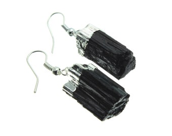 Black Tourmaline Silver Earring