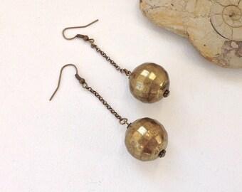 Disco ball earrings, antique gold color jeawelry, long dangle drop, earrings, large, big, ball, recyceled beads, beaded earrings, 70s style