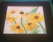 "Black Eyed Susans 8"" x 10"" Watercolor Illustration COMMISSION"