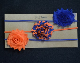 Florida Gators Inspired Set of 3 Shabby Flower Skinny Elastic Headbands - Orange, Orange/Royal Blue Stripe, Royal Blue Flowers - NY Mets