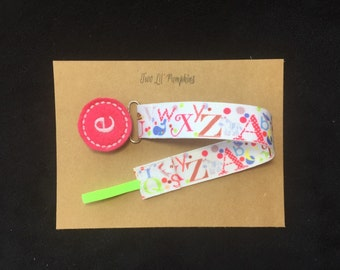 Initial Monogram Alphabet Pacifier Clip, ABC Paci Clip, Personalized Paci Clip, Baby Boy Girl Gift, Baby Shower Gift