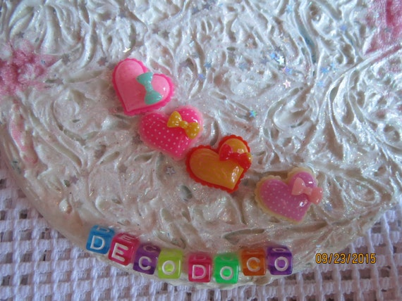 0: )- CABOCHON -( Rainbow Heart Bows