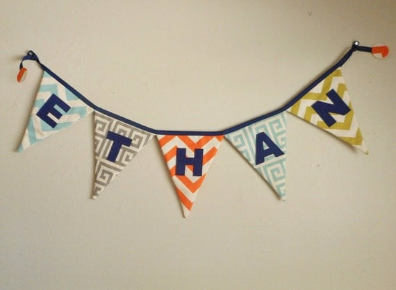 Custom Name Banner - Personalized Banner - Name Bunting -  Linen banner - cream banner - Boys Name Banner