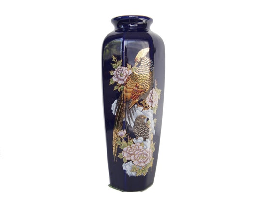 Vintage Asian Japanese Cobalt Blue Vase With Gold Peacock Tall