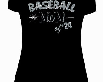 Baseball shirt. Custom baseball shirt can be customized with any #. Sparkly rhinestones. Glitter vinyl comes in any colors.*NOT FITTED*