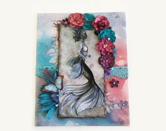 Mermaid canvas / mixed media / fantasy art / pink and blue / butterfly