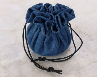 Travel Jewelry Pouch Medium Blue Denim with Black Cord Men and Women