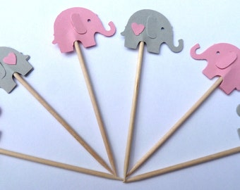24 Pink Gray Elephant Girl Baby Shower Toothpick Cupcake Toppers, Food Picks, Theme Party Picks, Ships in 3-5 Business Days