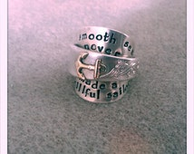 vintage teaspoon ring with brass anchor