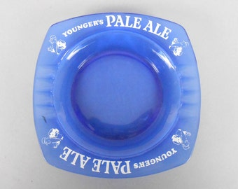 Ashtray Blue Glass Younger's Pale Ale Bar Ashtray