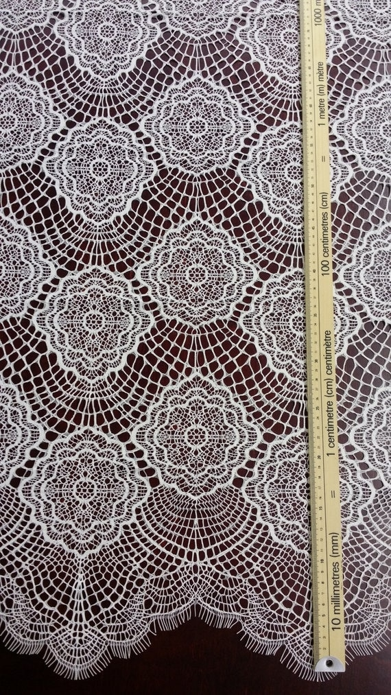 Ivory lace fabric, Spanish Lace, Embroidered lace, Wedding ...