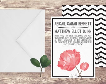 The Seattle Wedding Invitation and RSVP Set, Floral Wedding Invitations, Wedding Invitation with Peony, Wedding Invite with Flowers