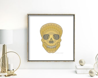 Halloween art sugar skull wall art Mexican Day of the Dead poster sugar skull apartment home decor gothic artwork grey mustard yellow white
