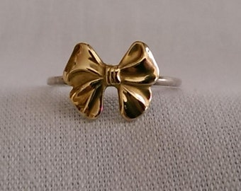 Sterling Silver Brass Bow Ring - Birthday Bridesmaid Gift