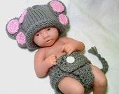 Newborn crochet outfit, Newborn Elephant Outfit, Newborn photo prop, baby girl outfit, Elephant hat, Elephant outfit, crochet newborn outfit