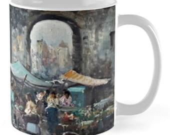 Street Market / Ceramic Beverage Mug - Coffee, Tea, Boullion, Hot Toddy, Etc / Post-Impressionist Painting of Italian Street Market