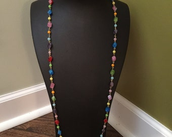 Long colorful vintage necklace