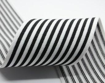 3inch (75mm) Wide  Black Striped  White Elastic Bands,Waistband Elastic,Sewing Elastic 62080