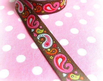 "Ribbon color mix ""Paisley band', mocha Brown"