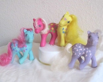 My Little Pony G1 Twice As Fancy Ponies: Sweet Tooth, Up Up and Away, Dancing Butterflies, and Love Melody