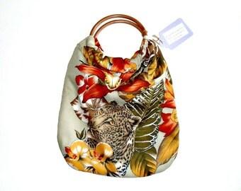 Crochet Craft Bag : knitting bag crochet bag craft bag vintage fabric bag handmade bag ...