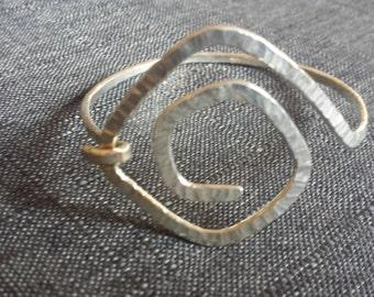 Hammered Swirl Sterling Silver Bangle Bracelet