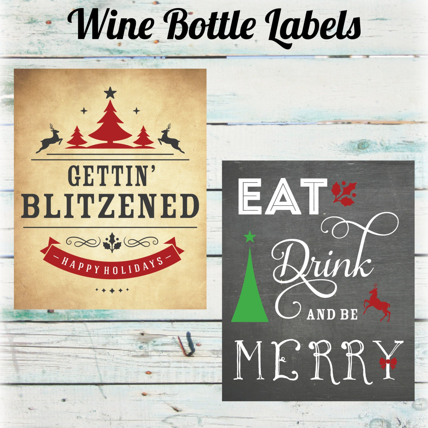 Funny Christmas Wine Bottle Labels Holiday Wine Bottle